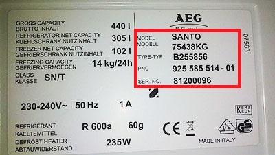 Etiqueta AEG